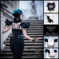 Black lace feather neck corset and shoulder pads