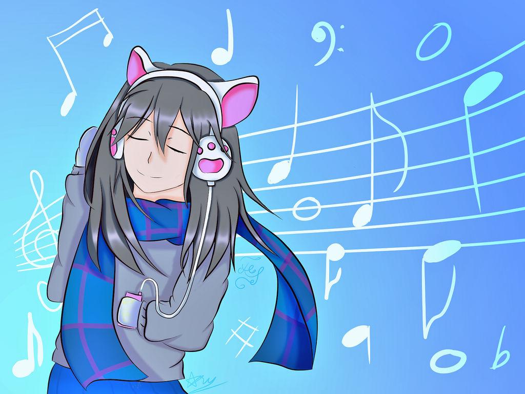 Anime girl with headphone by feliscatusscotland