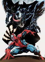 Spider-Man and Venom Pinup Color Sample by assisleite