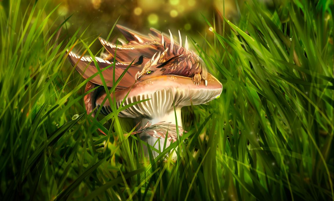 Mushroom Dragon by Blue-Hearts