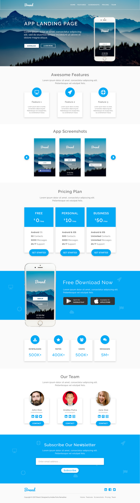 Mobile App Launching Landing Page Design by andikamelodiest