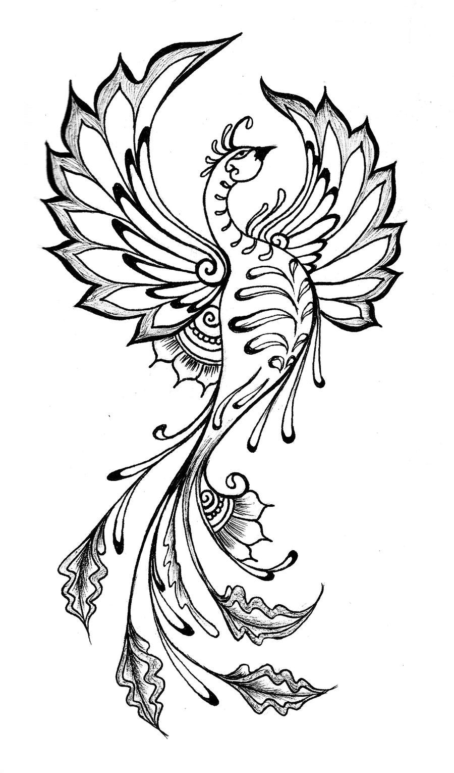 Black Line Drawing Tattoo : Henna phoenix by kotogoddess on deviantart