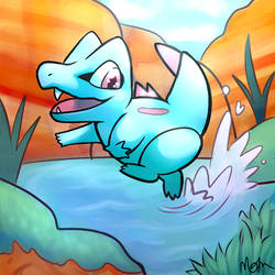 Totodile by Welcome-To-Moonside