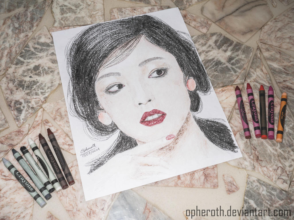Goo Hara Crayons Drawing by Opheroth