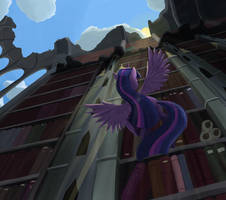 Twilight Sparkle in the Library Ruins by Bakuel