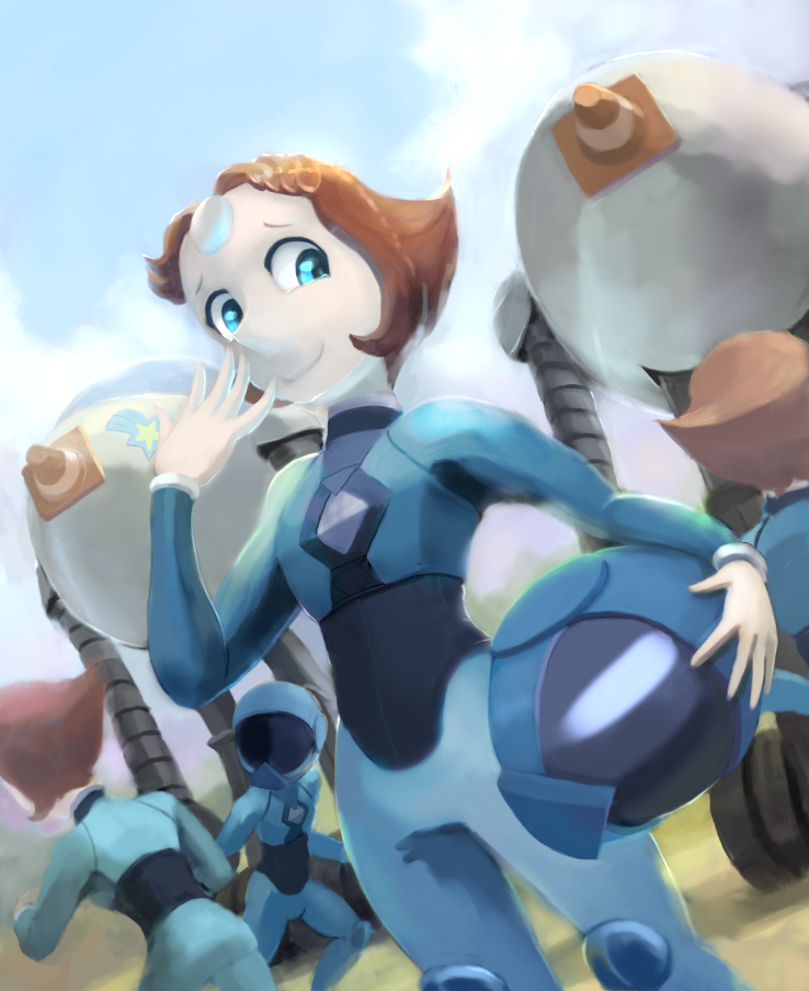 Right? I started with one Pearl in her flight-suit, then I drew her robot, then I drew more pearls and another robot and things grew from there.  I added helmets, because I like them. Been re-...