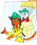Catwoman April and Cerise Parachuting