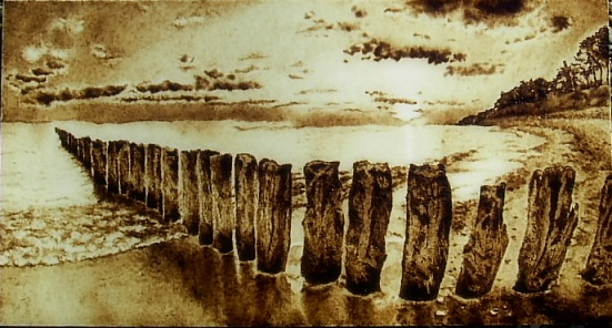 seascape-my pyrography by Matthiola222