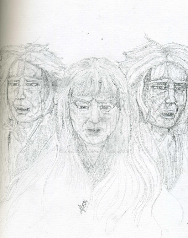 Line Drawing Of Witches Face : Three witches sketch by bela on deviantart