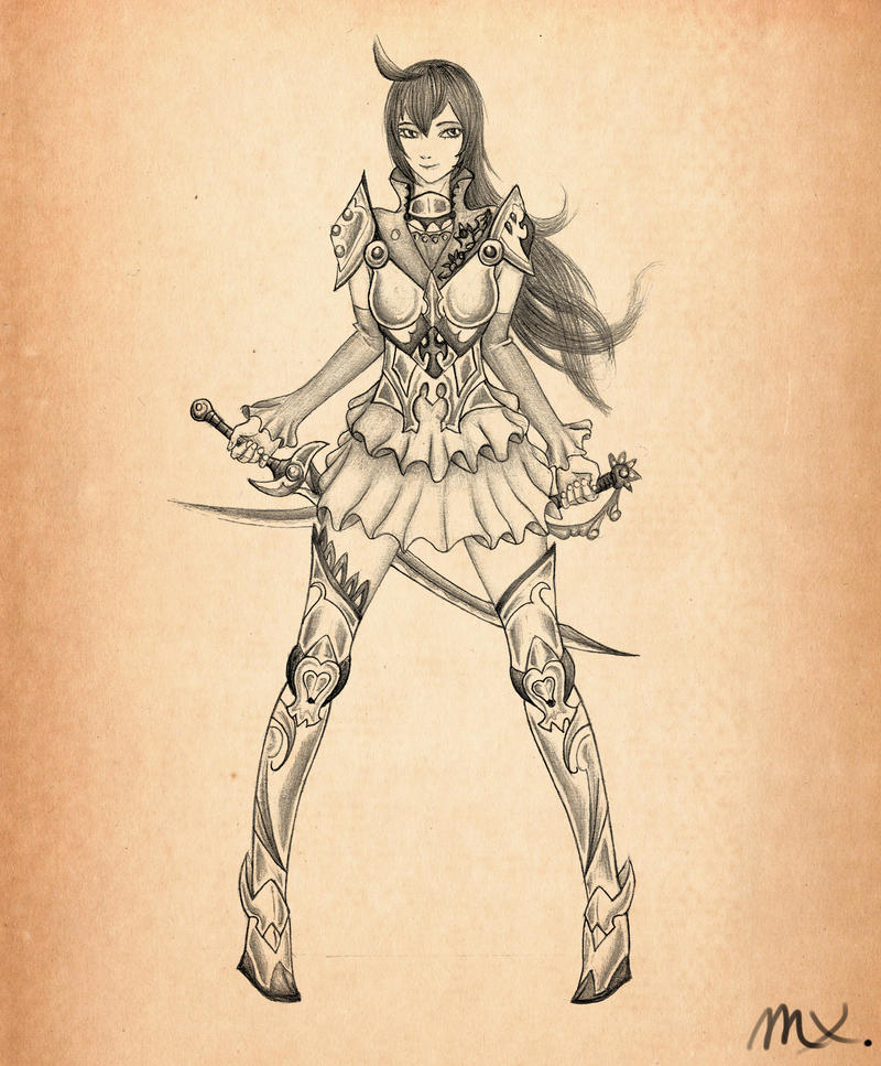 Female Knight Armor Drawing