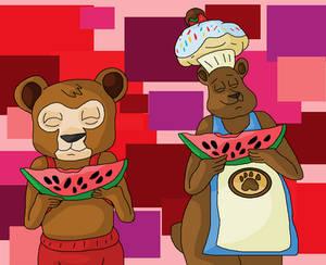 Brinley, and Sprinkles eating watermelon