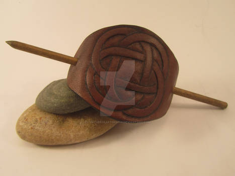 Celtic Leather Barrette