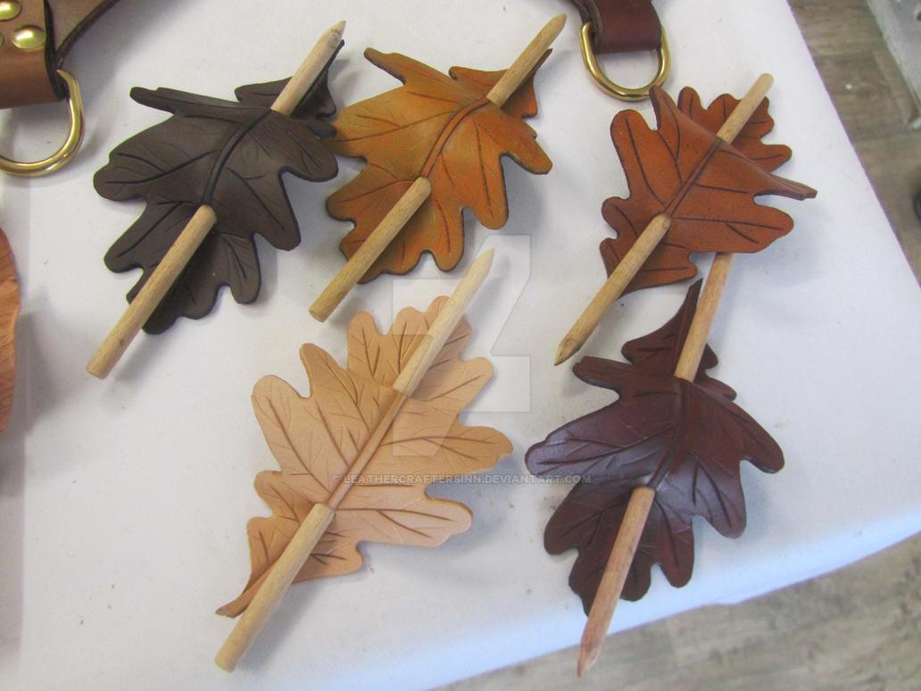Oak Leaf Barrettes/Hairpins by LeathercraftersInn