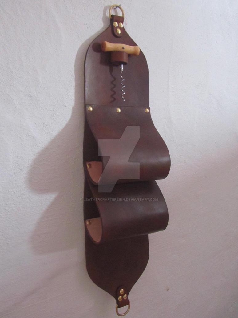 Leather Wine Rack by LeathercraftersInn
