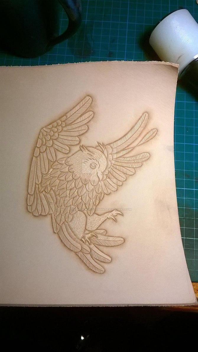 Owl carving, work in progress by LeathercraftersInn