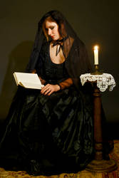 reading by candlelight by szorny-stock