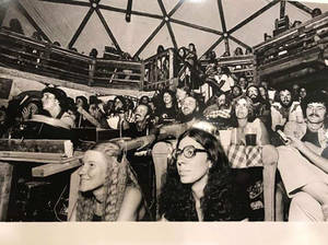hippies at a reading in the RR dome