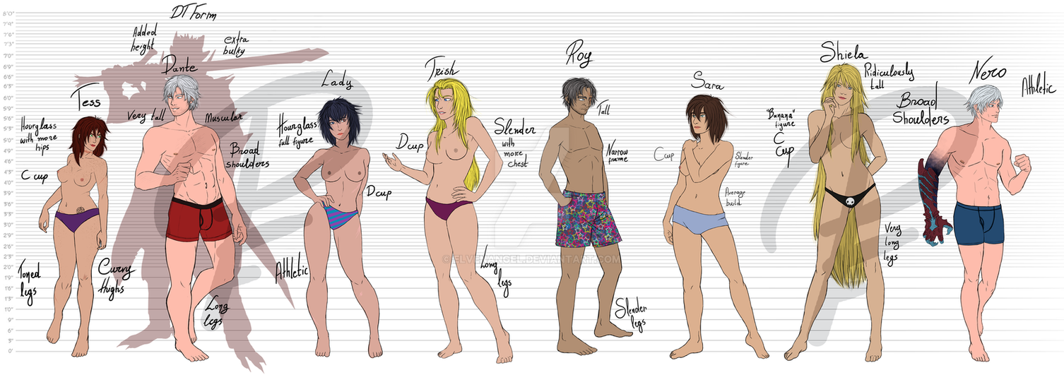 A size chart for DMC and fanfics by ElvenAngel
