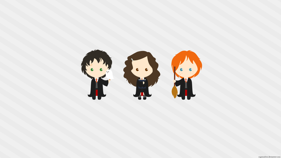 Download Wallpaper Harry Potter Animated - harry_potter_trio_wallpaper_by_acgoncalves-d33dxyp  Image_15281.png