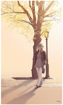 A walking girl