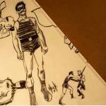 1930s superhero doodling