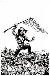 Archie VS Predator 2 #4 cover inks