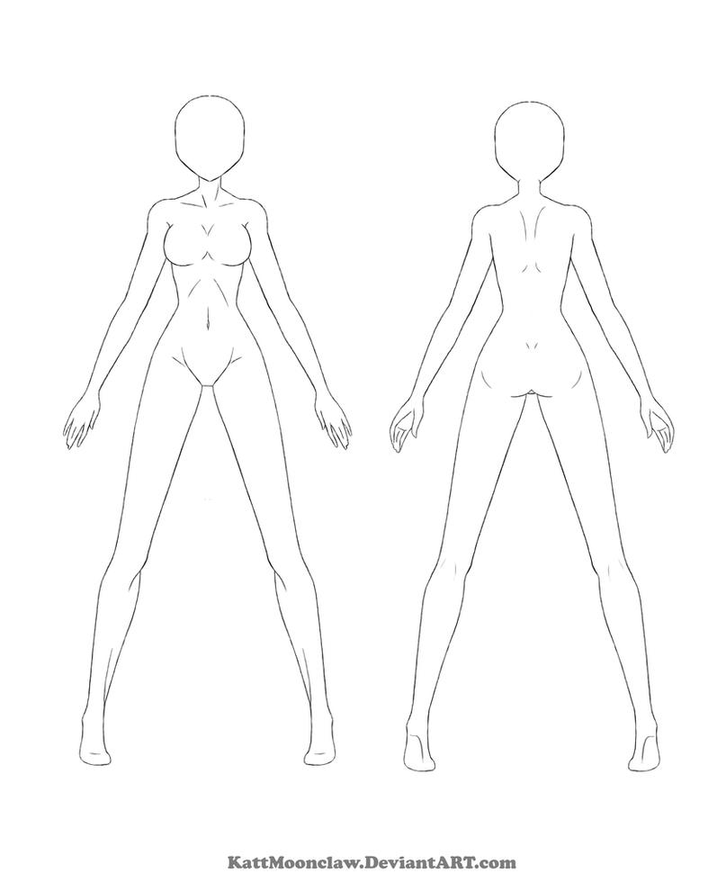 Character Design Outline : Reference template by thesilvamord on deviantart