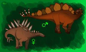 Stegosaurus sexual dimorphism by allotyrannosaurus