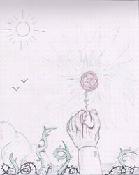 Hand holding a rose by Avgardiste