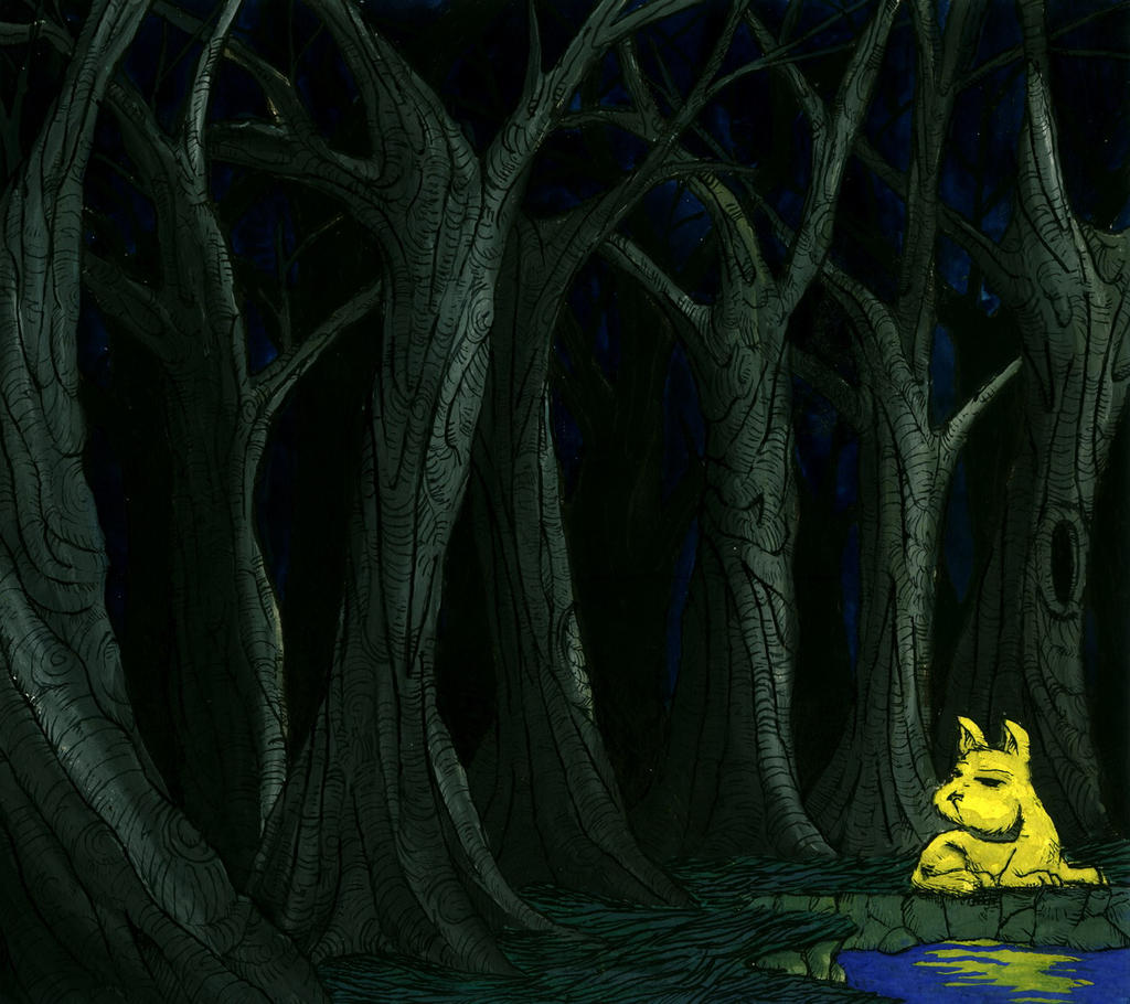 Yellow dog, dark forest by avid