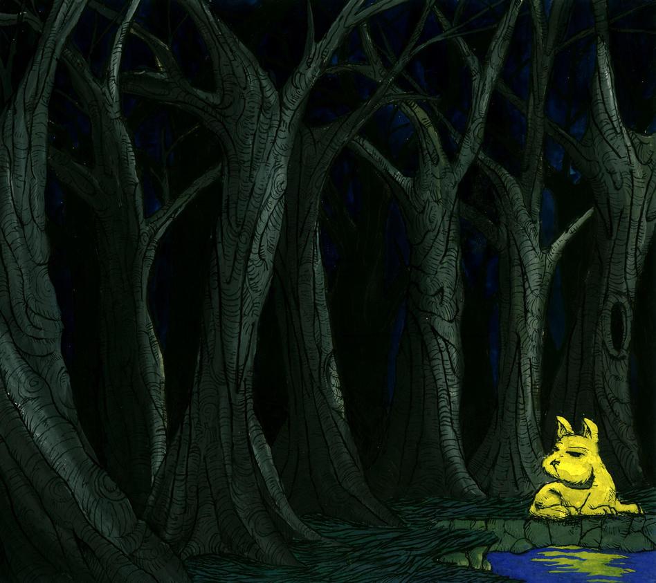Yellow dog, dark forest by avid