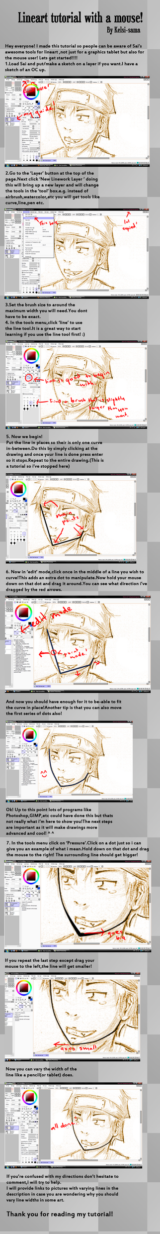 Lineart with a mouse tutorial by Kelsi-sama