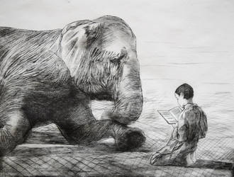 Girl with Elephant (Drypoint) by Walyco