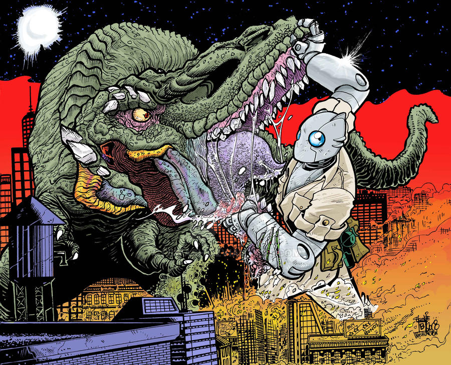 Atomic Robo vs King-Zilla by fbwash