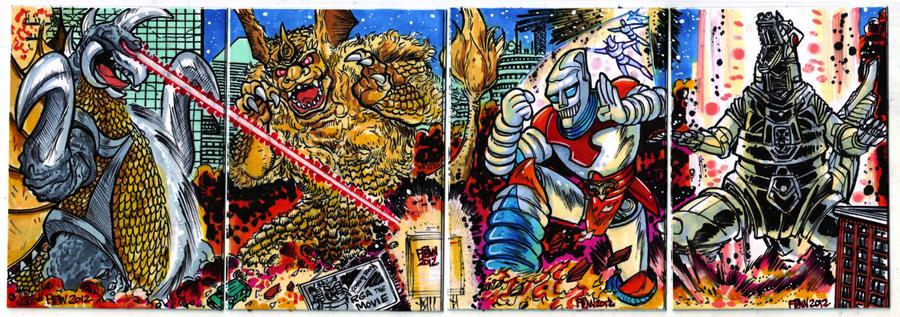 Godzilla Contest Kaijus Puzzle Card by fbwash