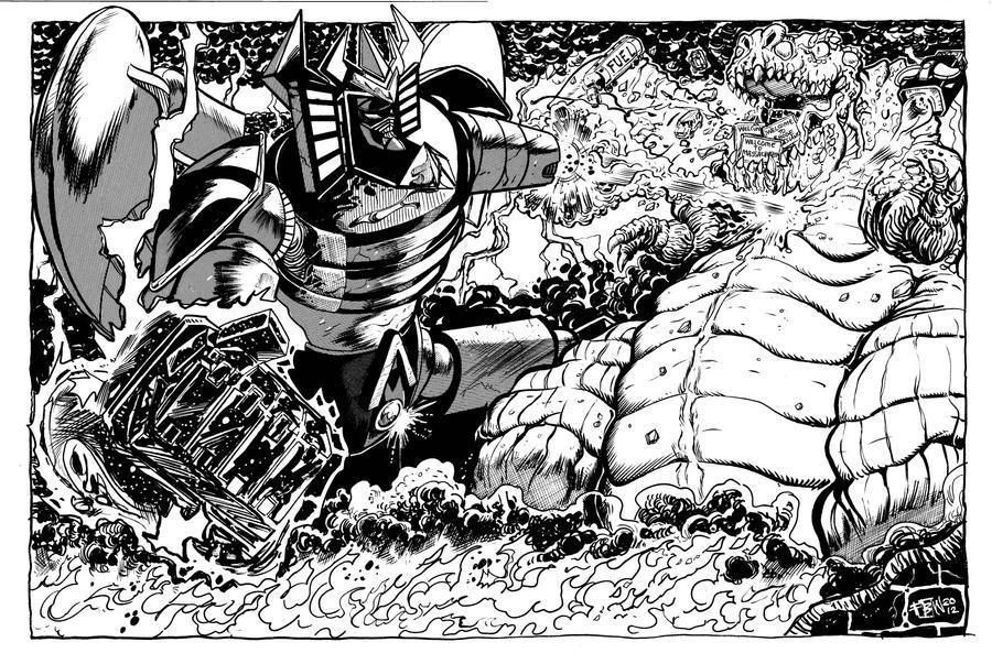 Robot God Akamatsu vs Macrosaurus BW by fbwash