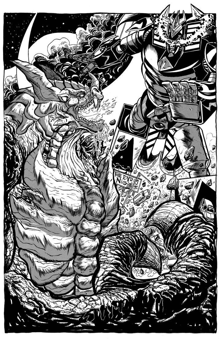 Robot God Akamatsu vs Kaidra BW by fbwash