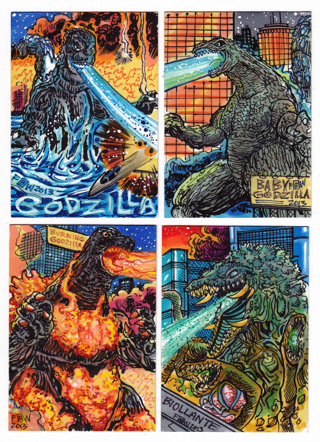 Kaiju Kards Set 10 by fbwash