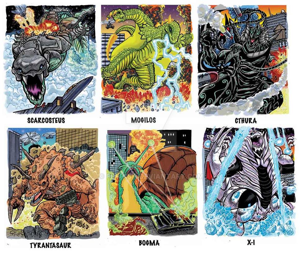 Colossal Kaiju Combat Trading Card Samples 1 by fbwash