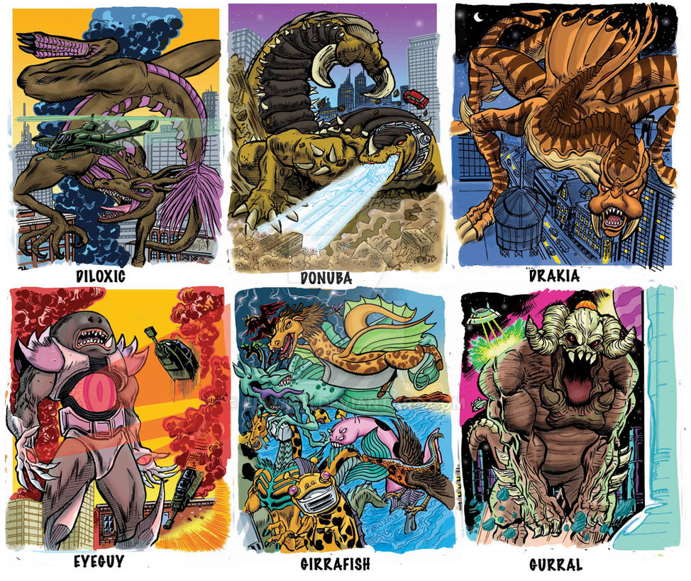 Colossal Kaiju Combat SPN 2 Trading Card Samples 2 by fbwash