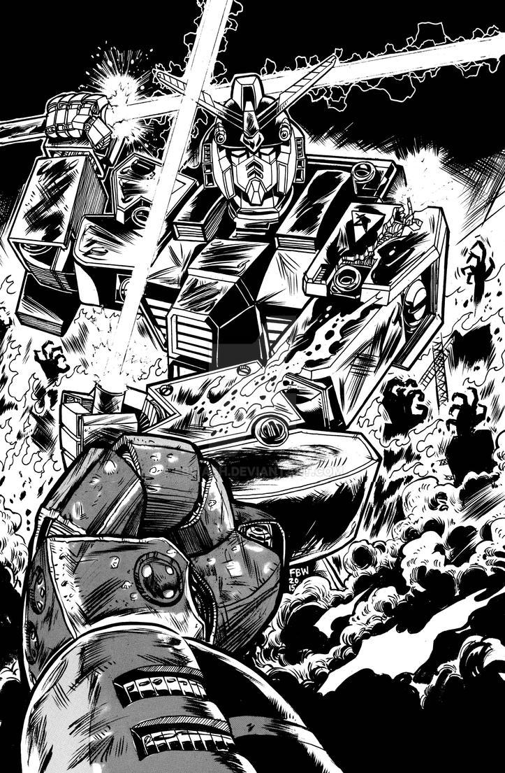 B/W Gundam War Commission by fbwash