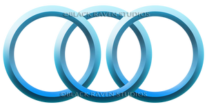 3 Blue Rings logo/button/icon