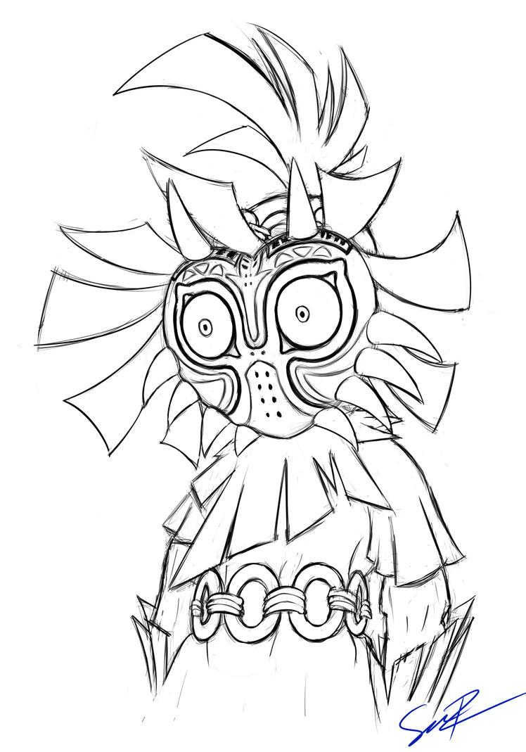 Skull Kid Sketch by sheandog