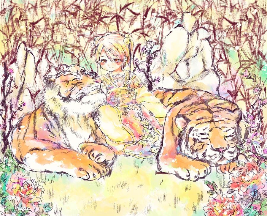 Fu and two tigers by temiji