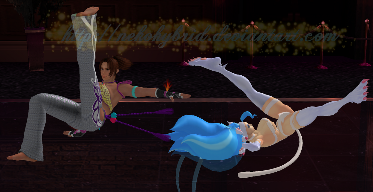 Felicia and Christie Breakdance by NekoHybrid
