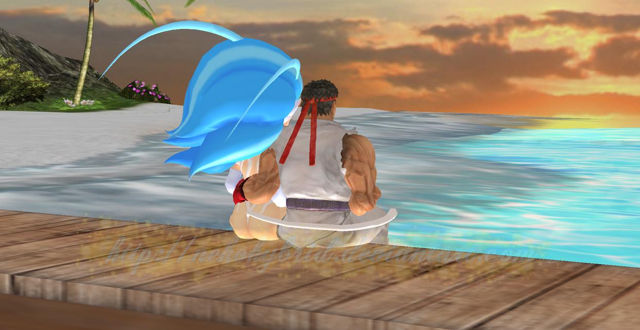 Felicia and Ryu Sunset by NekoHybrid