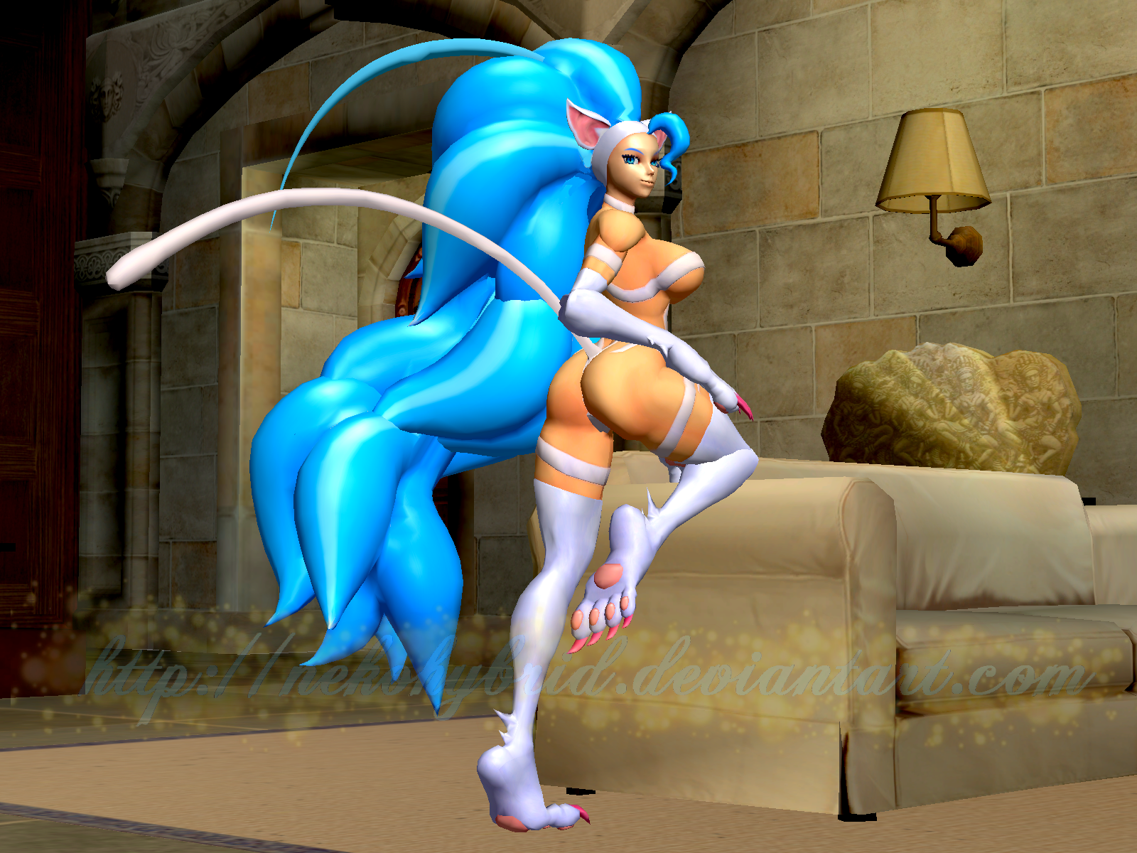 Felicia Sexy Couch Pose by NekoHybrid