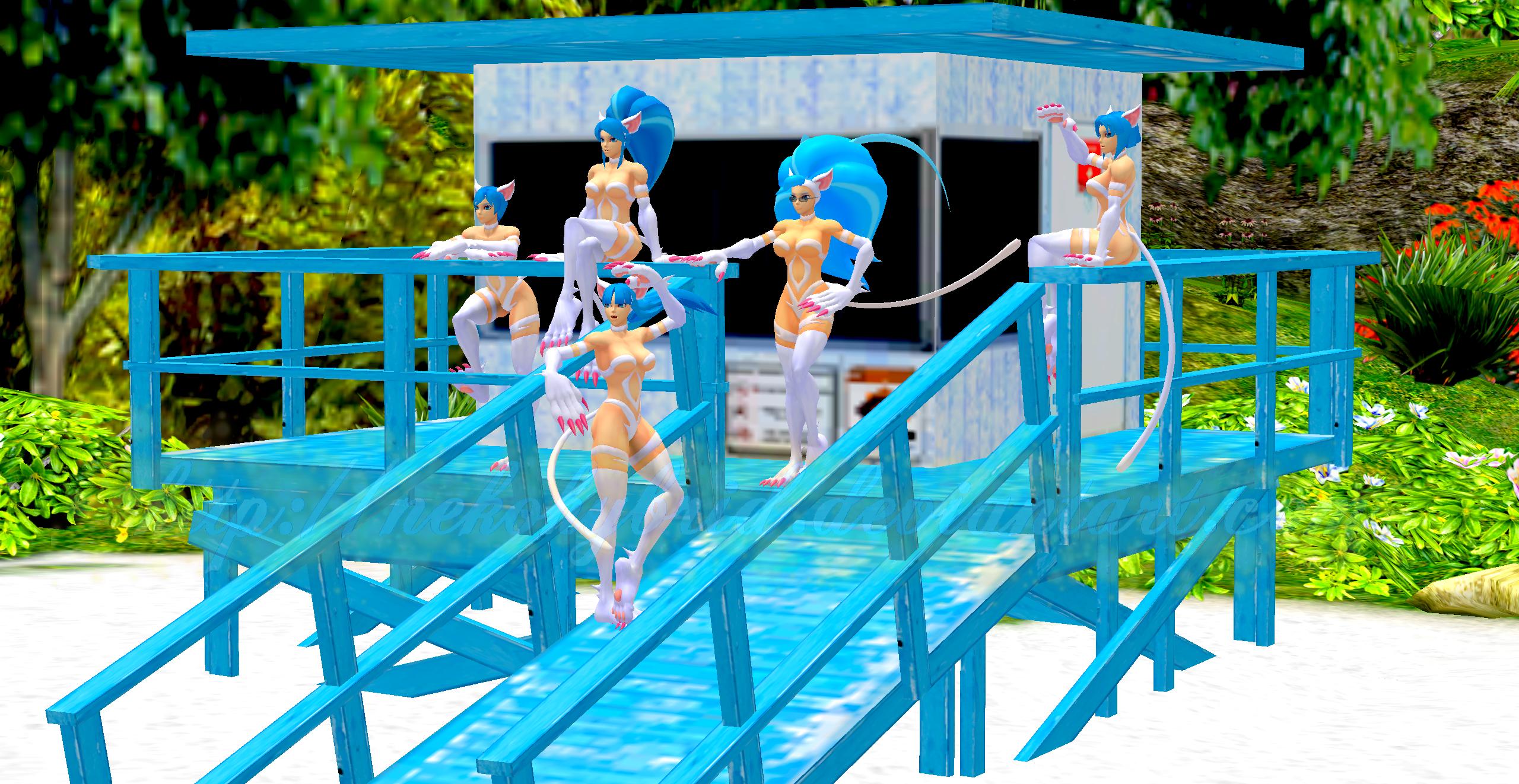 Felicia and Friends Do Baywatch by NekoHybrid