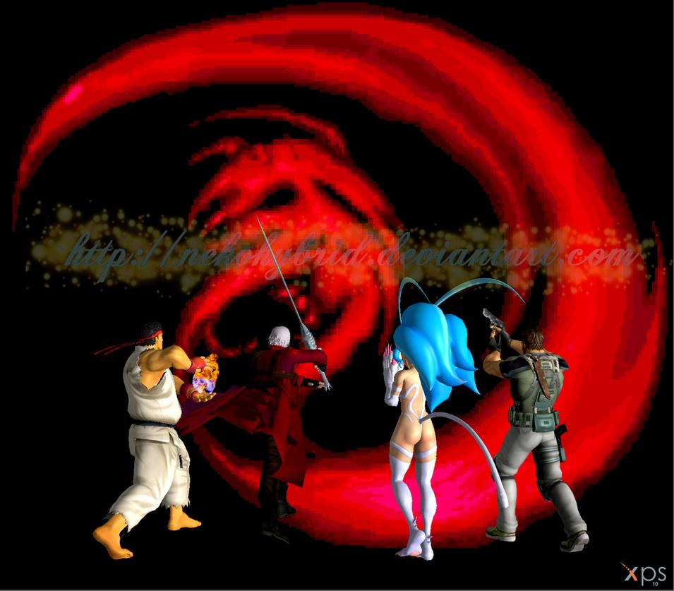 Felicia, Dante, Ryu, and Chris vs. Giygas by NekoHybrid