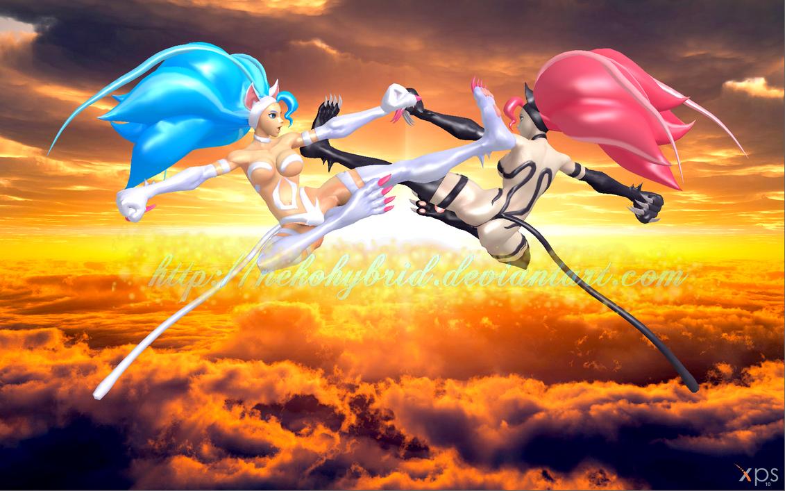 Flying Catwomen Dragon Kicks by NekoHybrid